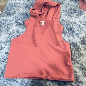 Mossimo Cropped Muscle Hoodie Rust Color Size Sm